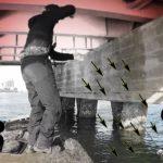 強烈に引く魚。次の瞬間、ロッドを水の中にドーン。