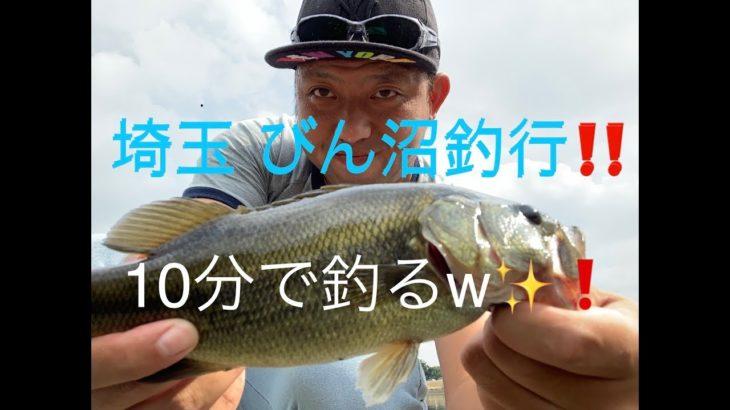 最速記録更新‼️びん沼 でバス釣り 10分で釣る✨