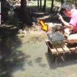川で魚を捕まえて山に掘った池に放流する!