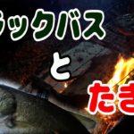 大江川産ブラックバスをたき火で食らう