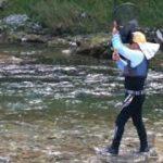 渇水の清流での鮎釣り
